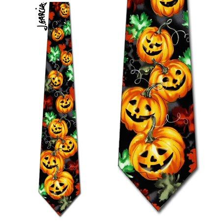 Butterfly Silk Tie - Butterfly Trap Pumpkins Necktie Mens Tie by Jerry