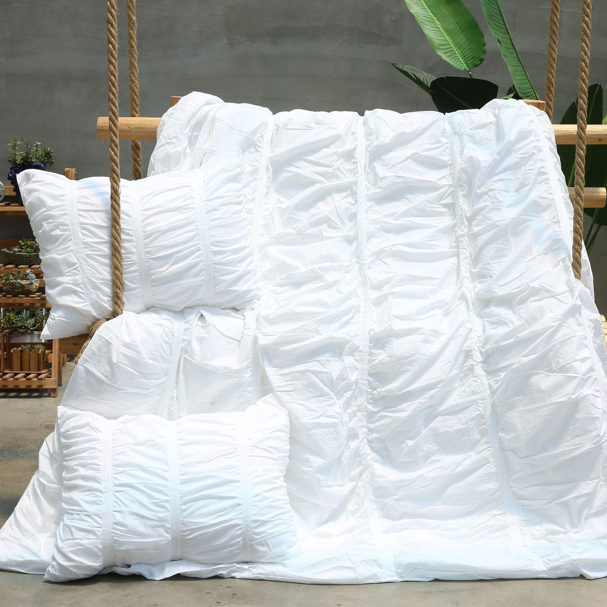 California Design Den Ruffle Duvet Cover Set Cotton Bright White, Full/Queen 3-Piece