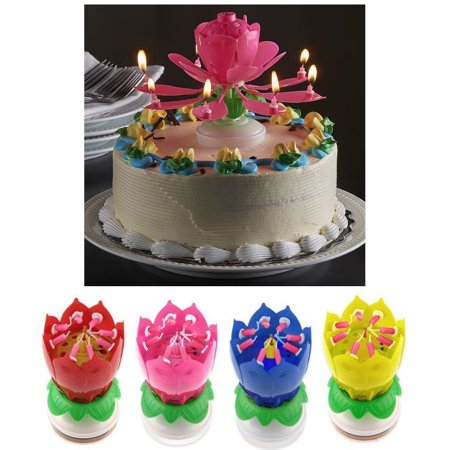 - 1 X Lotus Flower Musical Birthday Candle Rotating Spin Magic Cake Topper Party