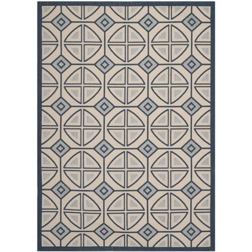 Safavieh Indoor/ Outdoor Courtyard Beige/ Navy Polypropylene Rug (5'3 x 7'7)