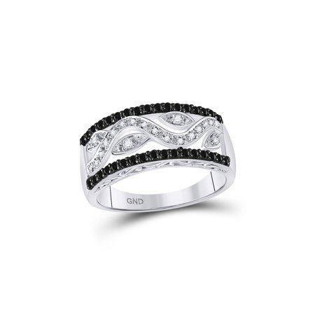 10kt White Gold Womens Round Black Color Enhanced Diamond Floral Band Ring 1/2 Cttw (Diamond Floral Band Ring)