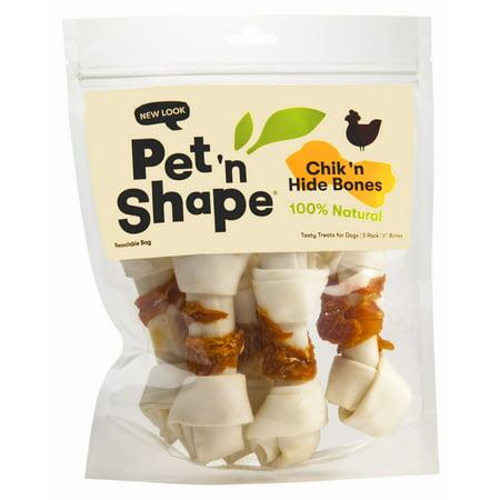 Pet 'n Shape All Natural Chicken Hide Dog Bones, Large 6 - Bone Shape