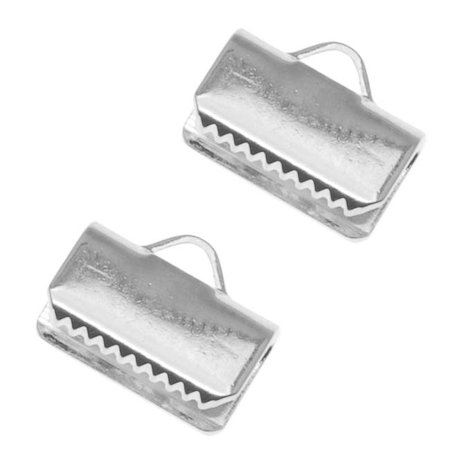 Silver Plated Ribbon Pinch Crimps Cord Ends 10mm or 3/8 Inch (Plated Ribbon End)