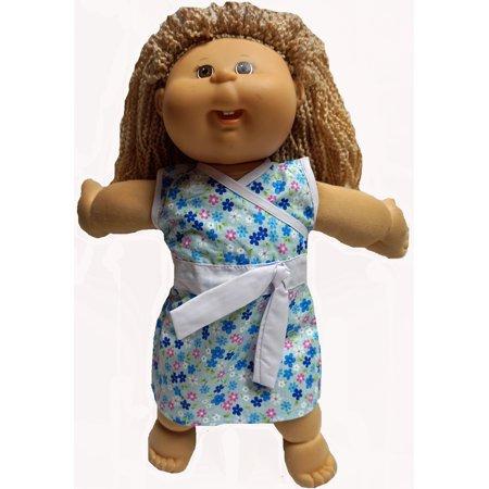 Versatile Blue Flower Dress Fit 18 Inch Girl Baby, Cabbage Patch Kid (Flower Girl Doll)