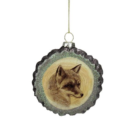 "Kurt S. Adler 4.25"" Glittered Tree Stump Wolf Glass Christmas Ornament - Brown/Black"