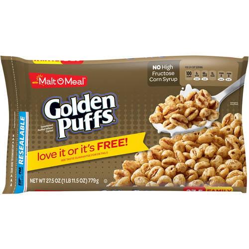 Malt-O-Meal Breakfast Cereal, Golden Puffs, 27.5 Oz, Bag