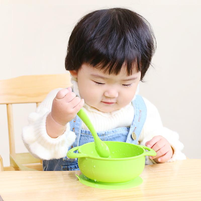 UPKOCH Baby Suction Bowl Feeding Bowl Set with Utensils Fork Spoon for Kids Toddler Self Feeding Orange