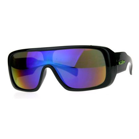582e3409d3a SA106 - Mens Shield Robotic Kush Gangster Plastic Mirrored Sunglasses Teal  - Walmart.com