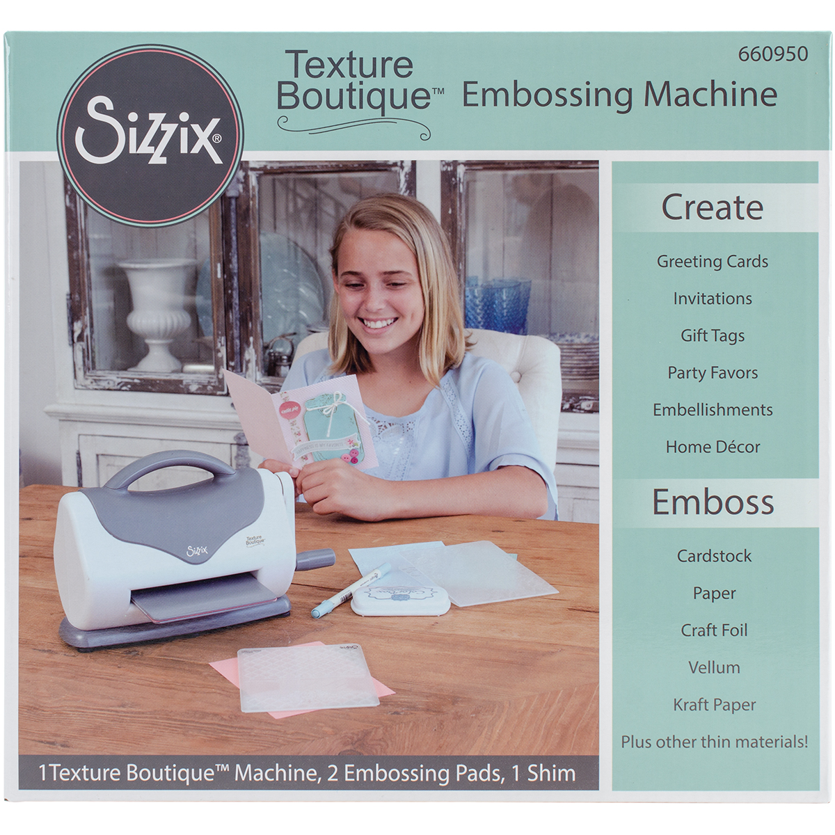 Sizzix Texture Boutique Embossing Machine Gray & White