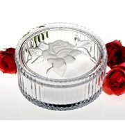 "4"" Frosted Rose Round Ridged Clear Crystal Candy Nut Trinket Box Container Holder with Lid Cover"