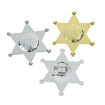 12 Pack Sheriff Badge Plastic Deputy Gold And Silver For Kids, Costume Decor, Birthday Party, Goody Bag Prizes, Cops And - Robber Costumes
