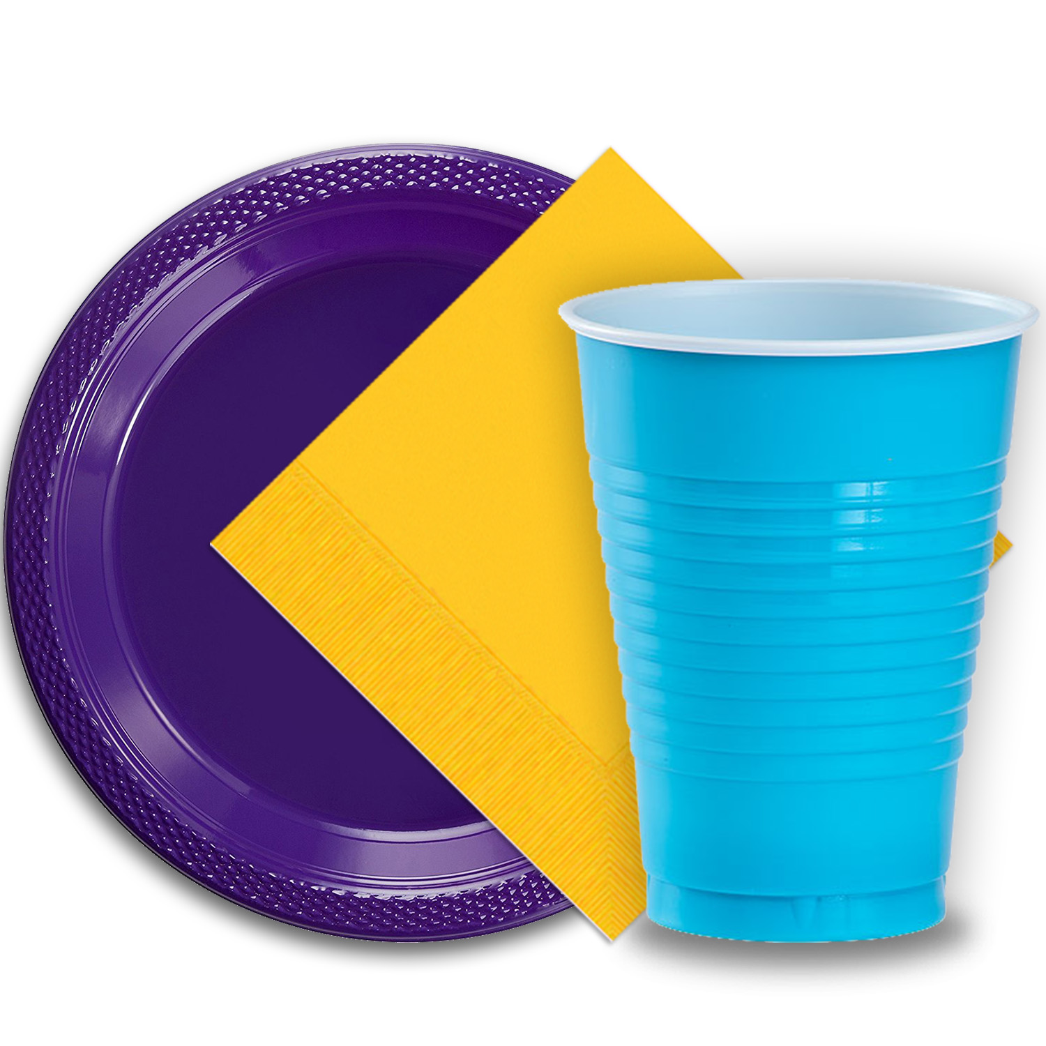 """50 Purple Plastic Plates (9""""), 50 Aqua Plastic Cups (12 oz.), and 50 Yellow Paper Napkins, Dazzelling Colored Disposable Party Supplies Tableware Set for Fifty Guests."""