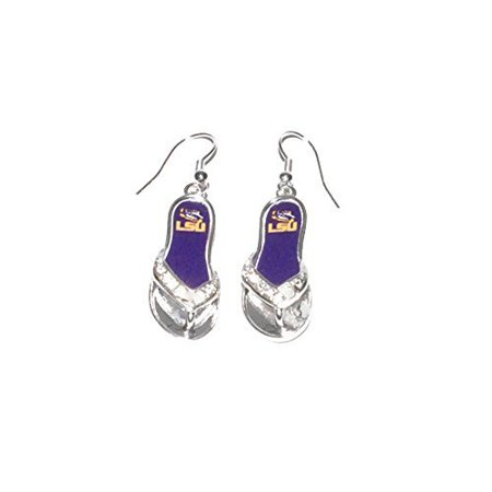 LSU Tigers 1.25 Inch Licensed Silver Toned Flip Flop (Lsu Tigers Post Earring)
