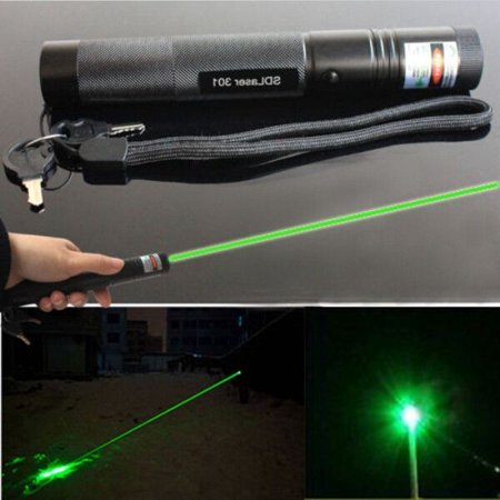 G301 Adjustable Focus Burn 5mw 532nm Green Laser Pointer Pen Lazer Visible Beam ()
