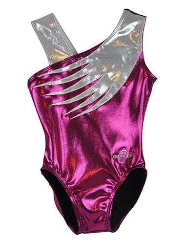 O3GL036 Obersee Girl's Girls Gymnastics Leotard - Pink Feather
