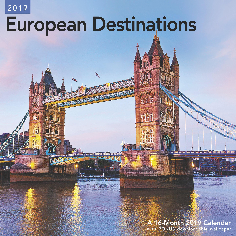 """Mead® European Destinations 2019 Monthly Wall Calendar, 12"""" x 12"""""""