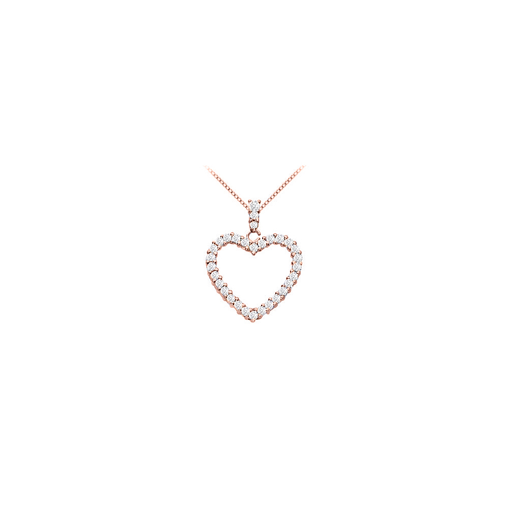 14K Rose Gold Vermeil Silver Floating Heart Cubic Zirconia Pendant Necklace 1.25 CT CZ - image 2 of 2