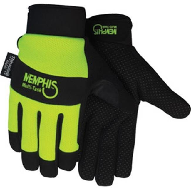 MCR Safety 926LMG Memphis Multi-Task Synthetic Leather Palm Insulated Gloves, Lime - Large