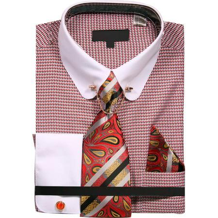 Men's Micro Diamond Print Shirt with Tie Handkerchief Cufflinks and Collar Chain ()
