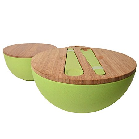 Jumbl Bamboo Salad Bowl Bamboo-Fiber Bowl Set with Lids & Inset Utensils - Lids Double As Cutting Boards - Smaller Bowl Nests Perfectly Inside Larger for Easy Storage, Green