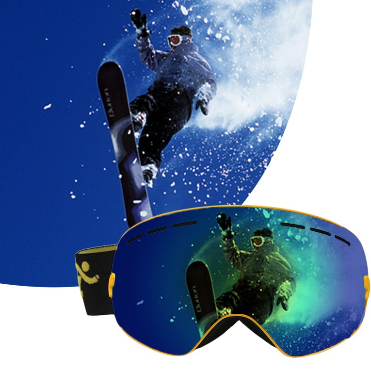 COPOZZ Ski Goggles Double Layers Anti-Fog Adult Snowboard Skiing Glasses by