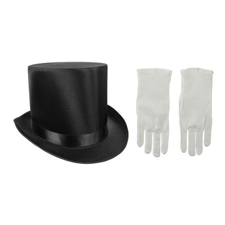 Tall Black Satin Formal Victorian Top Hat With White Gloves Magician Costume (Victorian Hats)