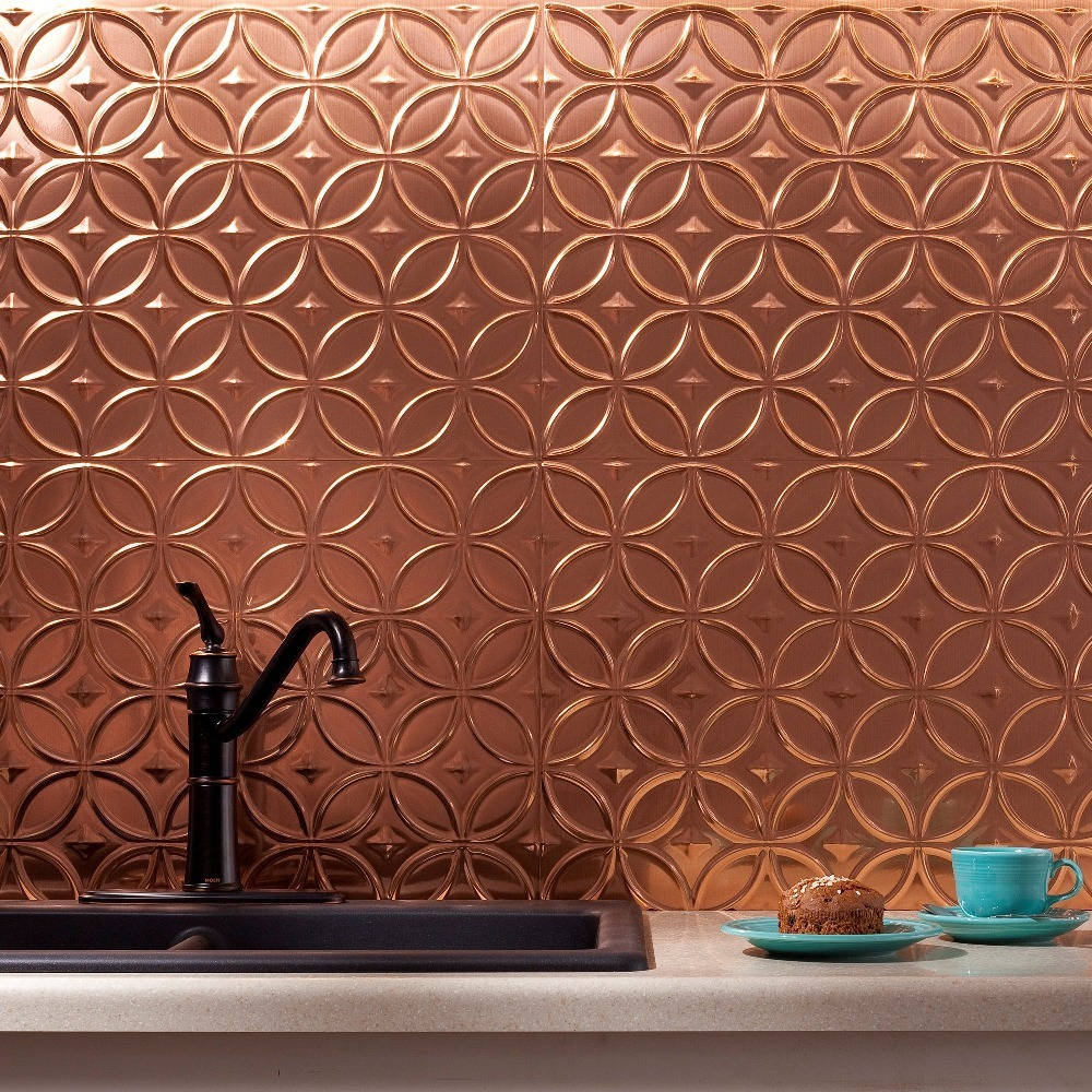 6 x 6 Sample Fasade Easy Installation Rings Antique Bronze Backsplash Panel for Kitchen and Bathrooms