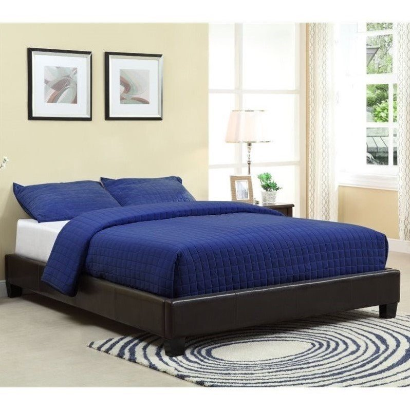 Modus Furniture Upholstered Platform Bed in Chocolate by Modus Furniture