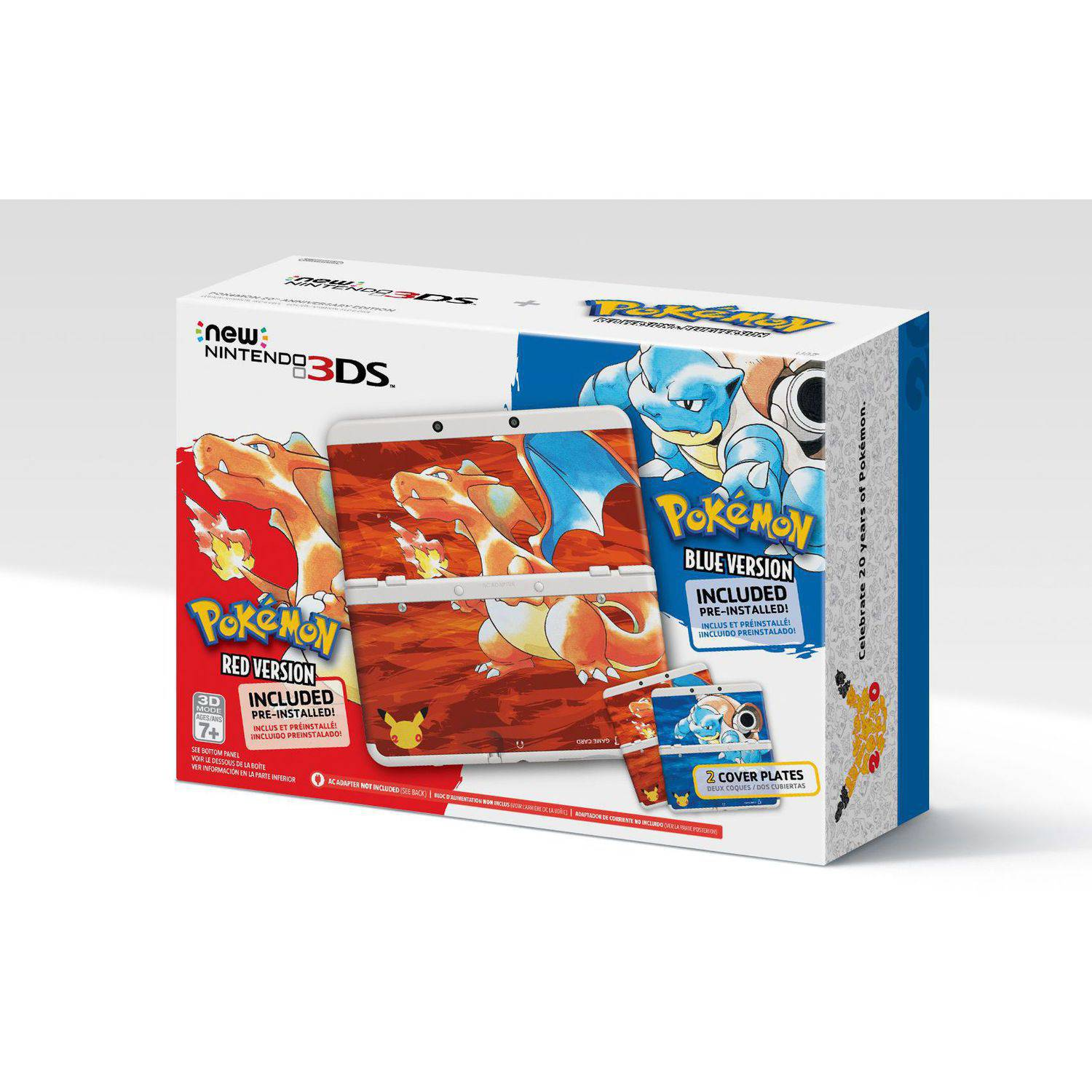 Nintendo Pokemon 20th Anniversary Edition New 3DS with Red/Blue Video Game