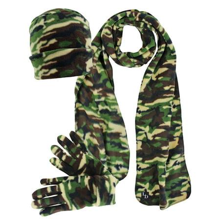 Green Camouflage 3-Piece Fleece Hat Gloves & Scarf