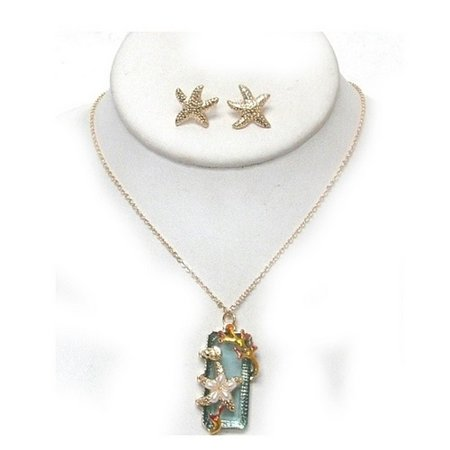 Starfish Aquamarine Necklace And Earring Set