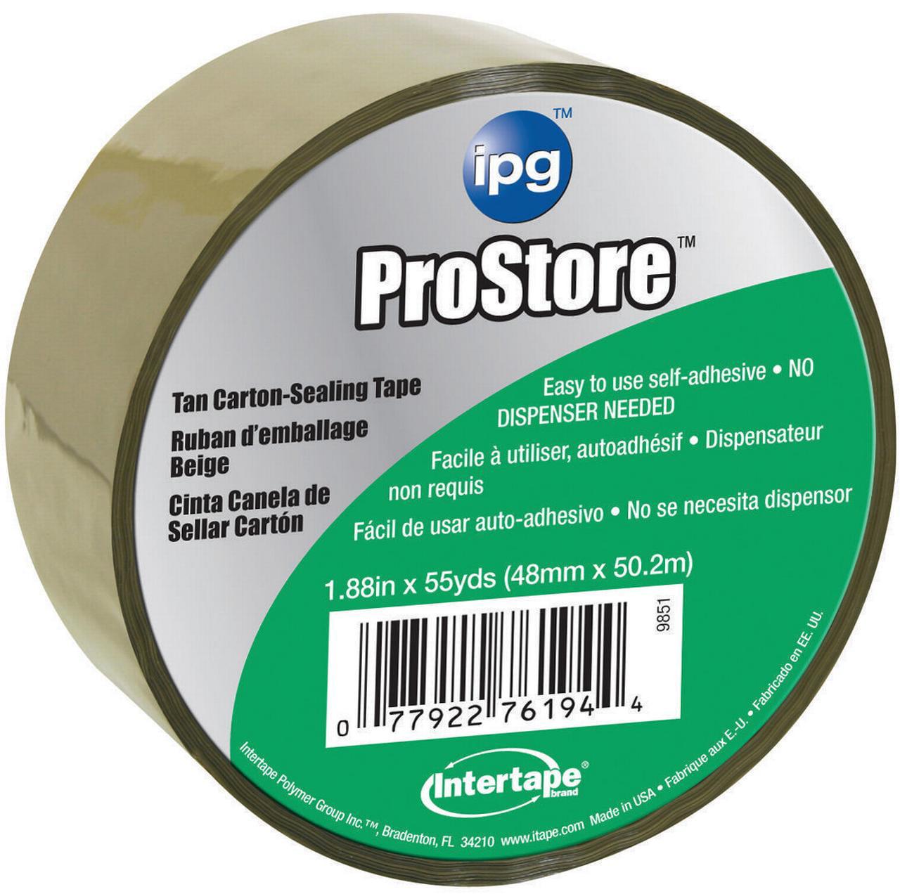 IPG 9851 Storage Tape, 1.88 in W x 54.6 yd L x 1.85 mil T, Tan