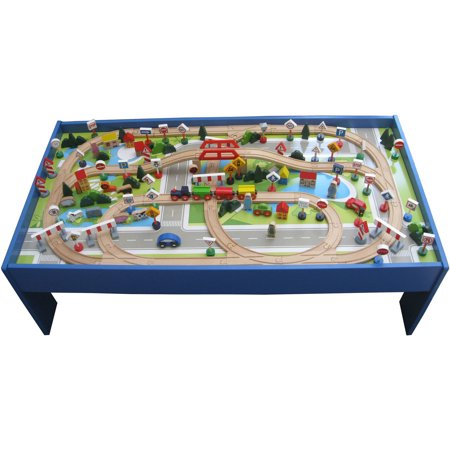 150-Piece Wooden Train Set with Table - Walmart.com