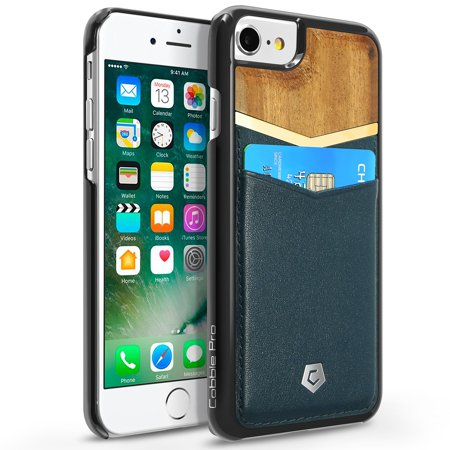 2 Pack Cobble Pro for iPhone 8 / 7 / 6 / 6s case - Unique Design Handcrafted Bamboo Wooden / PU Leather Wallet Slim Hard Cover Case with Card slot holder - Cherry Wood / Dark Blue
