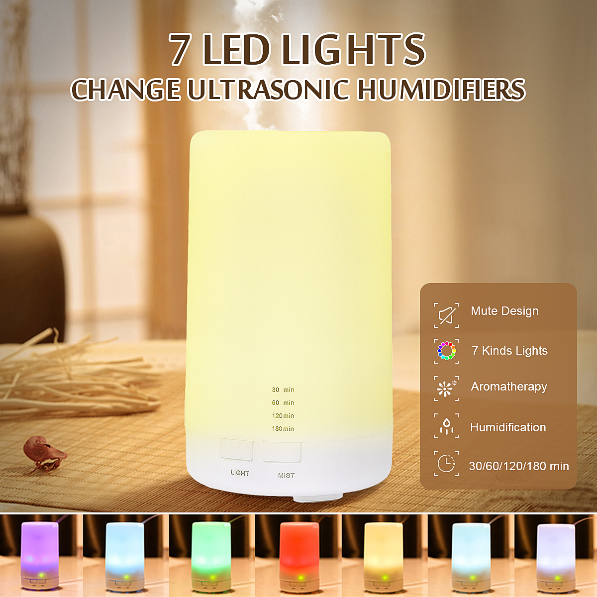 LED Ultrasonic Aroma Essential Diffuser 7 Colors LED