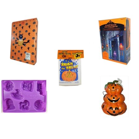 Halloween Fun Gift Bundle [5 Piece] -  Cat Pumpkin Push In 5 Piece Head Arms Legs - 35 Count Skeleton Icicle-Style Light Set -  Trick or Treat Bags 40/ct - Happy  Jell-O Mold - Motion-activated Spoo