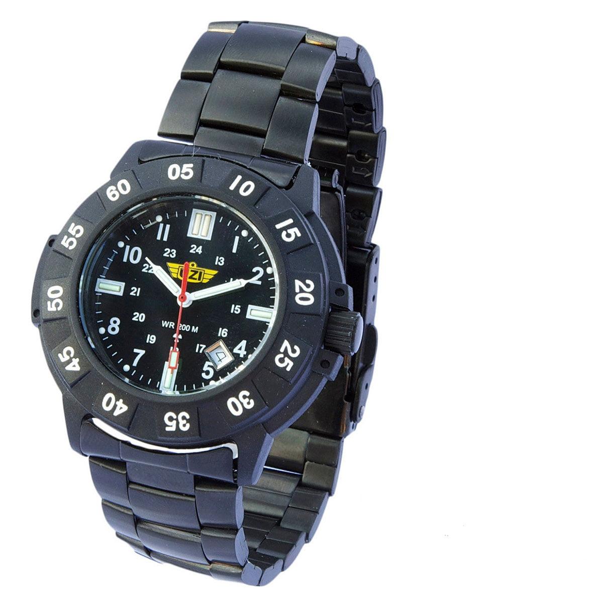 UZI  Protector Tritium H3 Watch with Metal Strap - Black - UZI-001-M