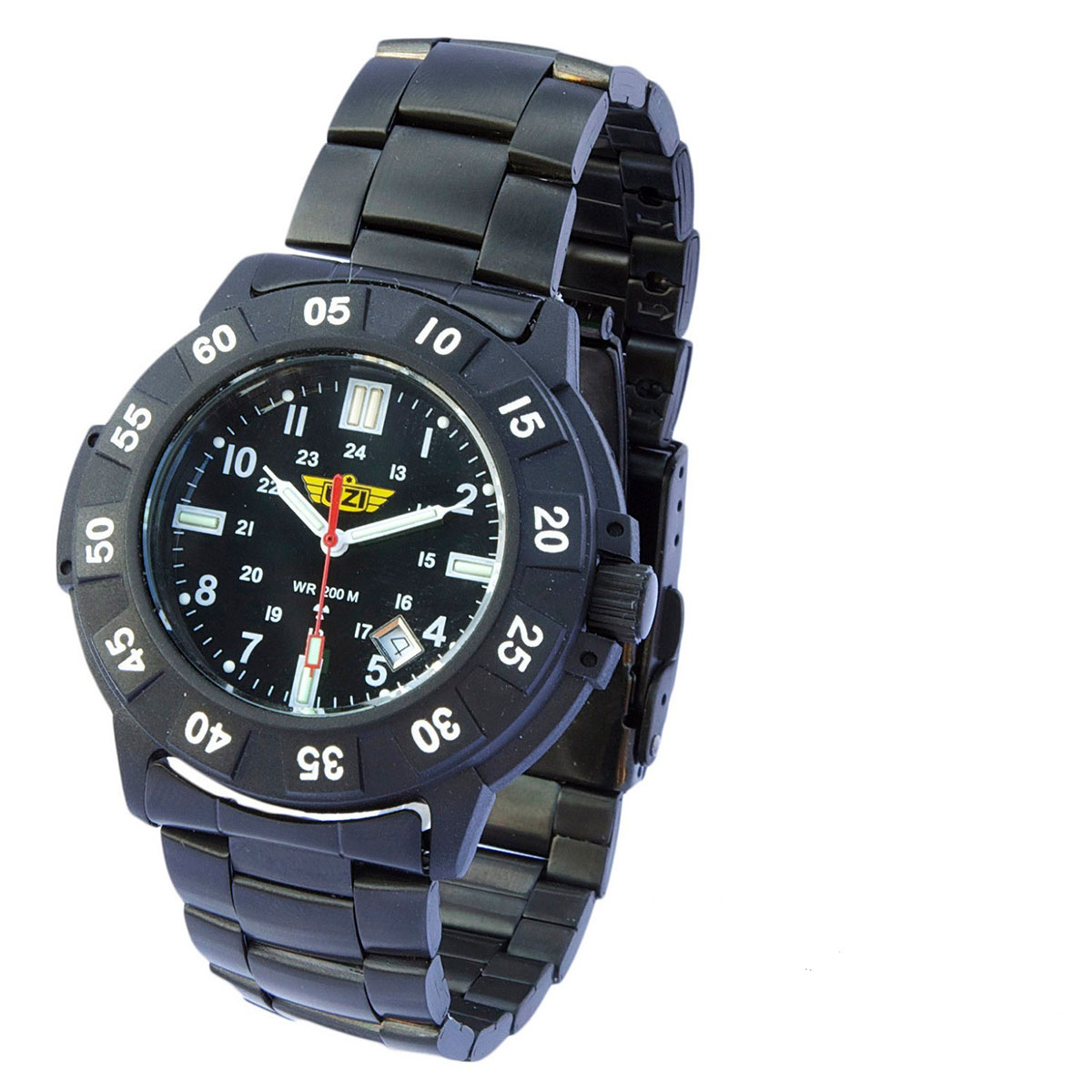 UZI Protector Tritium H3 Watch with Metal Strap - Black -...
