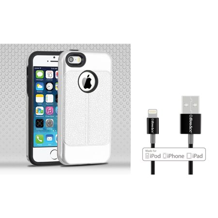 Insten Dual Layer Hybrid Leatherette PC/TPU Rubber Case Cover For Apple iPhone 5/5S/SE - Silver/Black (Bundle with MFI Lightning cable) - image 3 of 3