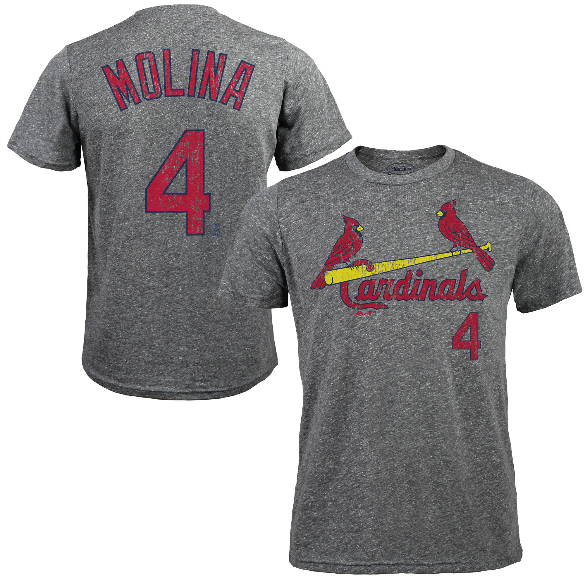 Yadier Molina St. Louis Cardinals Majestic Threads Premium Tri-Blend Name & Number T-Shirt - Gray