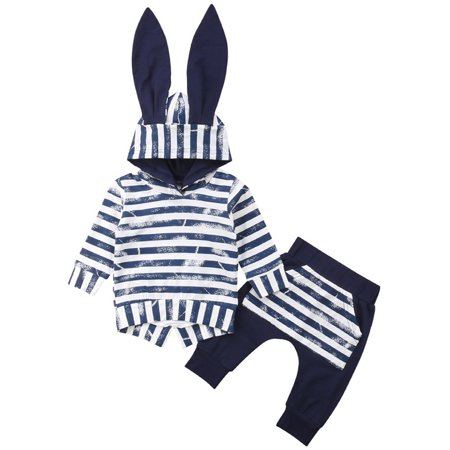 Newborn Infant Toddler Baby Boys Girl Long Sleeve Hooded T-Shirt Long Rabbit Ears Tops +Pants Clothes Outfit Set - Rabbit Outfit
