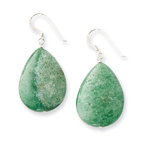 Sterling Silver Large Crack Aventurine Green Tear Drop Earrings QE7617 (0.63 grams|49MM x (Green Aventurine Briolette Earrings)