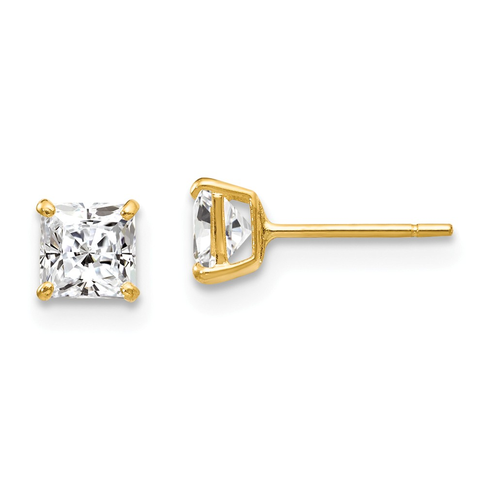 14k Yellow Gold Childs CZ Stud Post Earrings w/ Gift Box. (4MM)