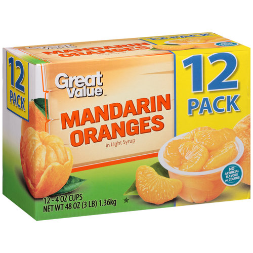 Great Value Mandarin Oranges, 4 oz, 12 count