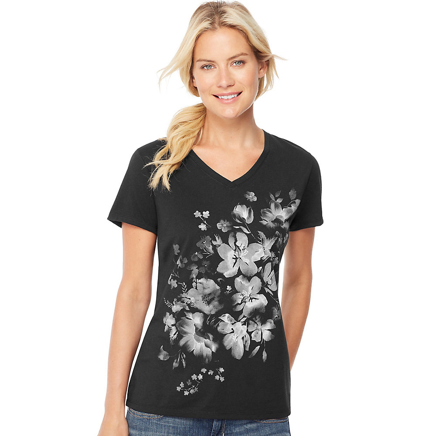 Hanes T Shirt Women/'s Dragonfly Mandala Short Sleeve V Neck Graphic Tee Black