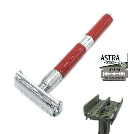 Long Blade (ZEVA LONG HANDLE DE SAFETY RAZOR BUTTERFLY OPENING FOR MEN + 5 ASTRA BLADES RED)