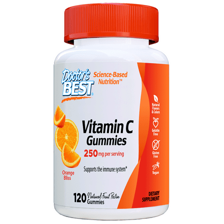 Doctor's Best Vitamin C, 250mg per Serving, 120 Gummies Orange Flavored Immune System Support, Natural Fruit Pectin, Vegan, Gluten