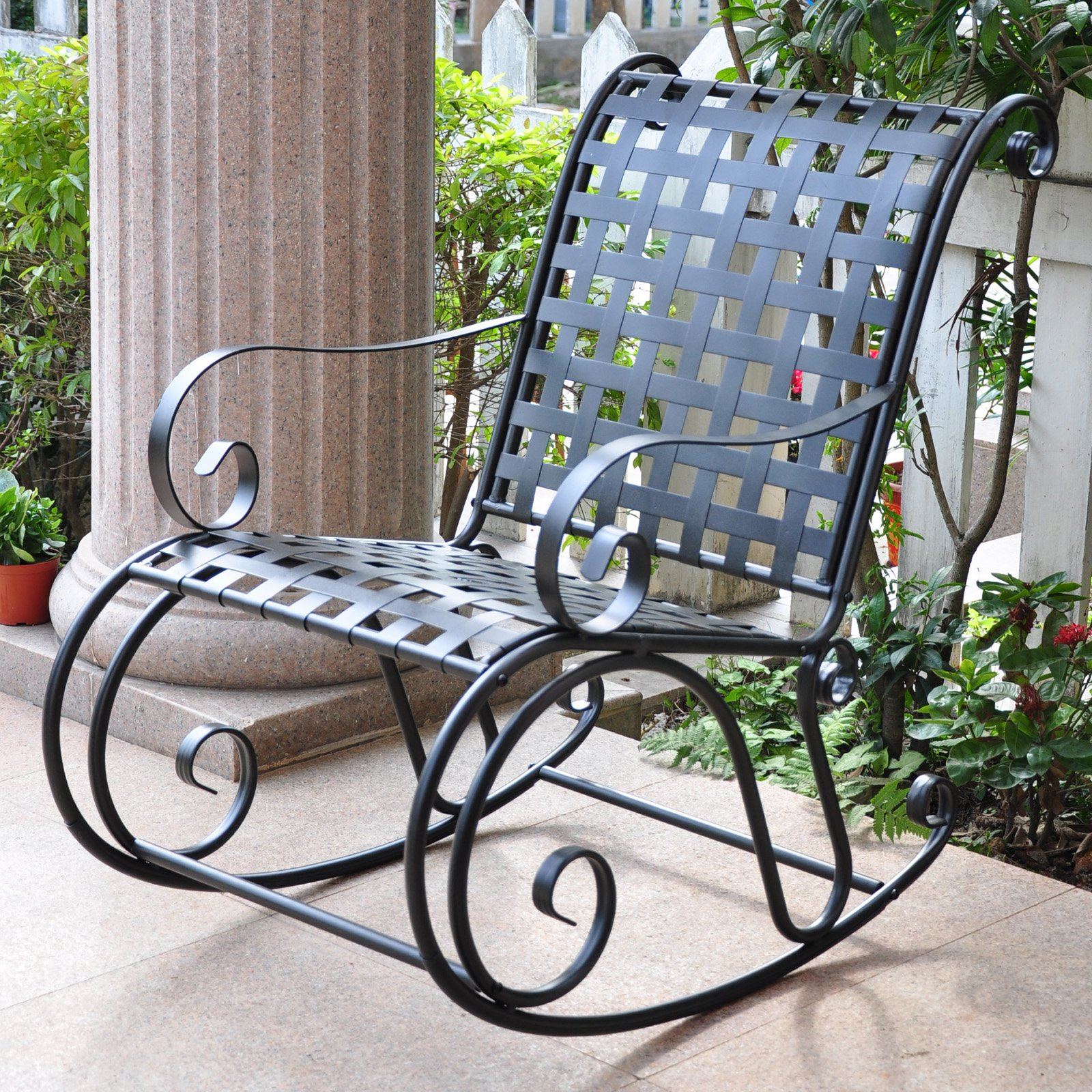International Caravan Scroll Iron Metal Outdoor Rocker