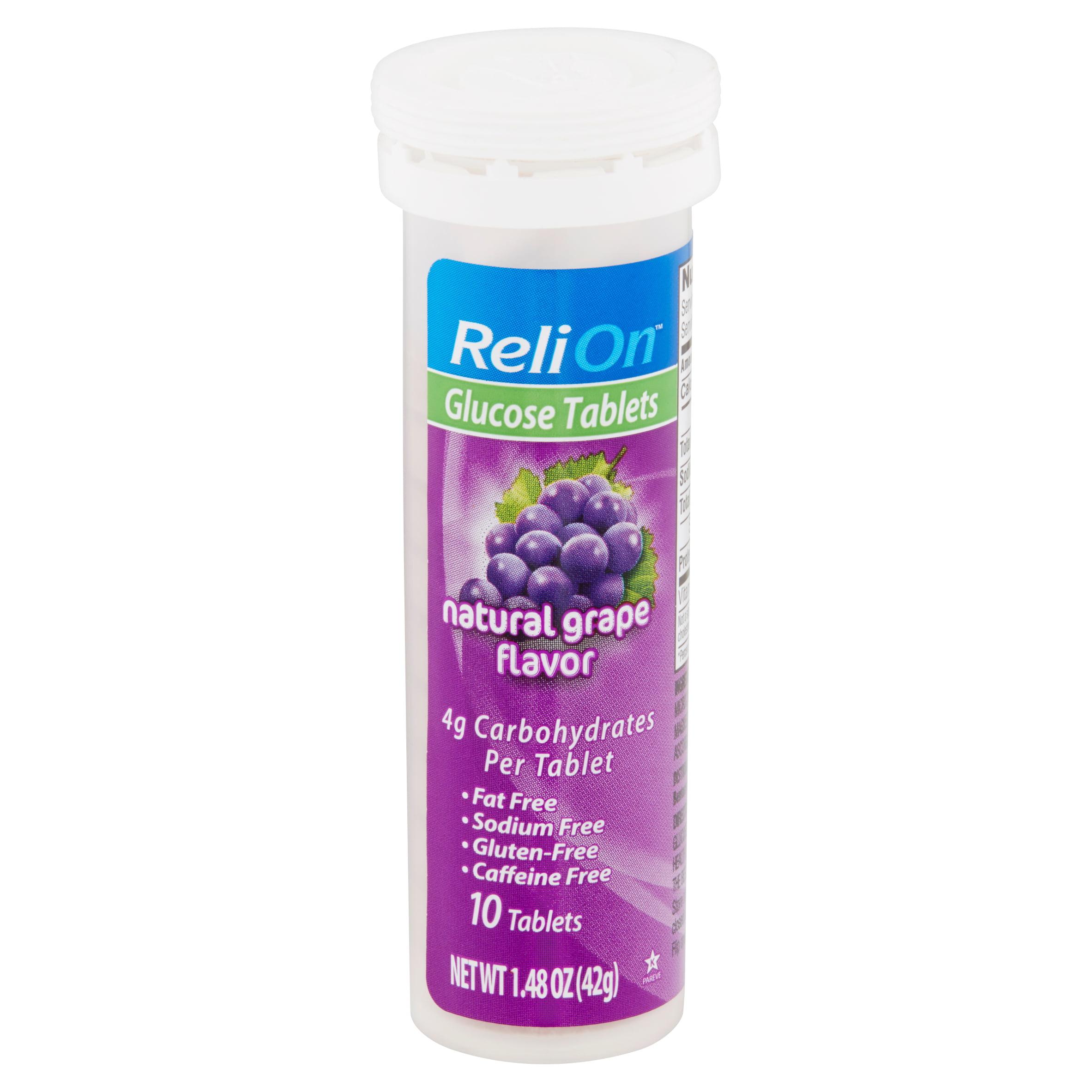 ReliOn Natural Grape Flavor Glucose Tablets, 10 count, 1.48 oz