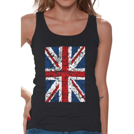 Awkward Styles Jack Flag Tank Top Stylish T Shirt for Ladies Tank Top for Girlfriend Patriotic Shirt United Kingdom Flag Shirt for Her England Lovers Tank Top for Sister New England ()